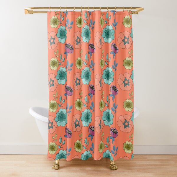 Coral bright fat floral Shower Curtain