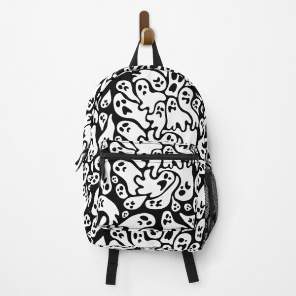 Black And White Ghost Pattern Backpack