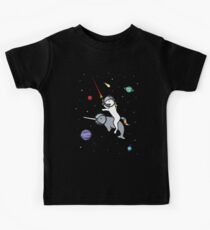 Unicorn Riding Narwhal In Space Kids Tee