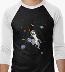 Unicorn Riding Narwhal In Space Baseball ¾ Sleeve T-Shirt