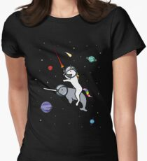 Unicorn Riding Narwhal In Space Women's Fitted T-Shirt