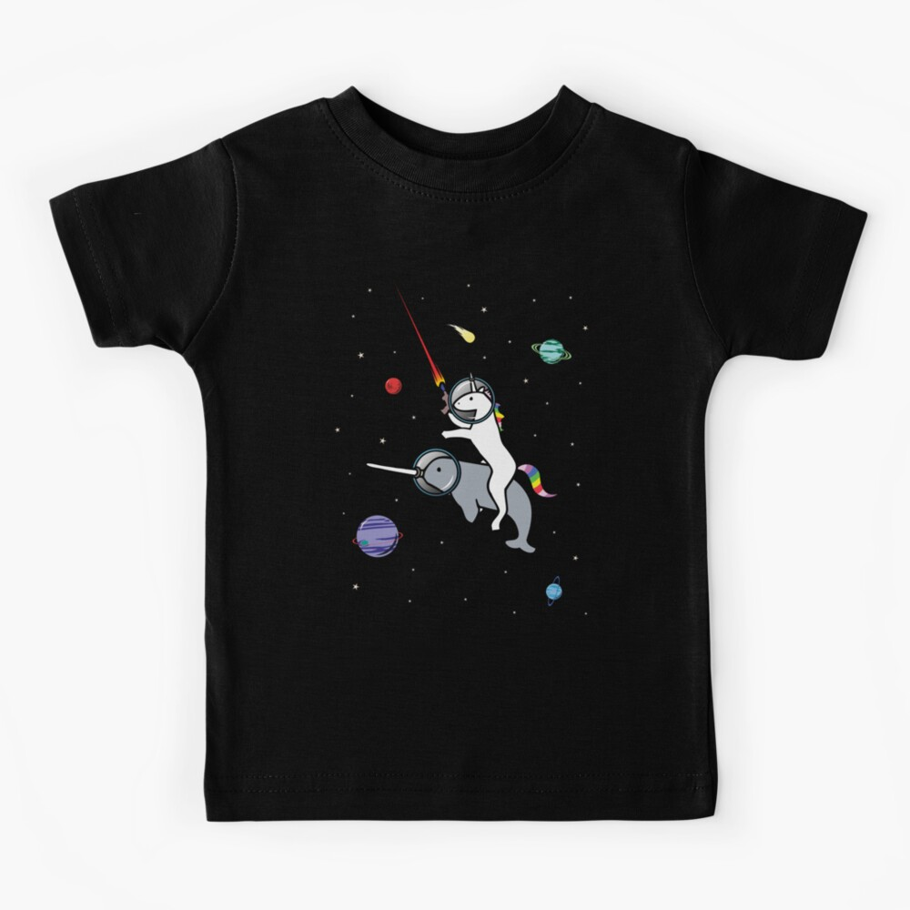 Unicorn Riding Narwhal In Space Kids T-Shirt