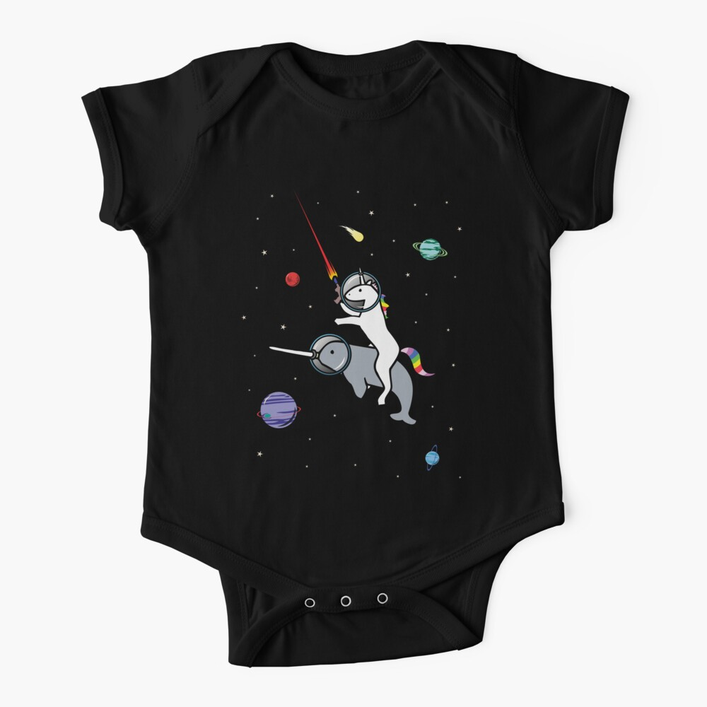 Unicorn Riding Narwhal In Space Baby One-Piece