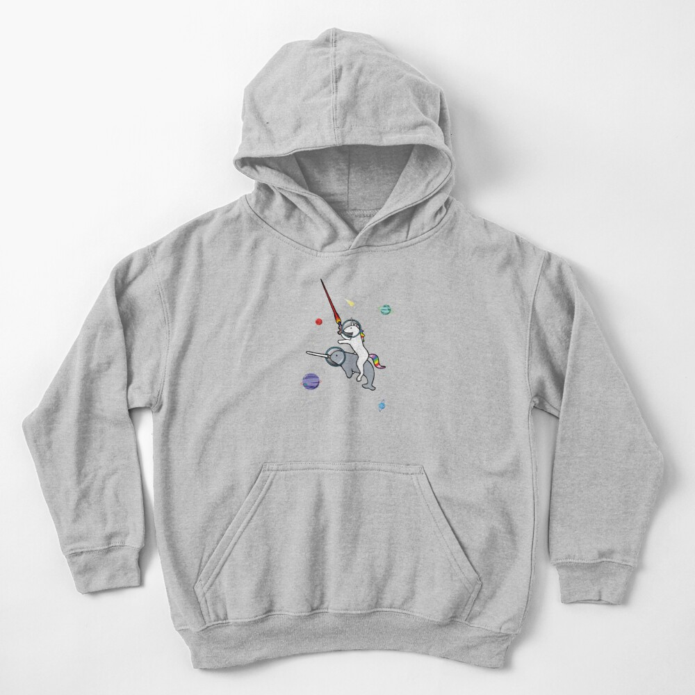 Unicorn Riding Narwhal In Space Kids Pullover Hoodie