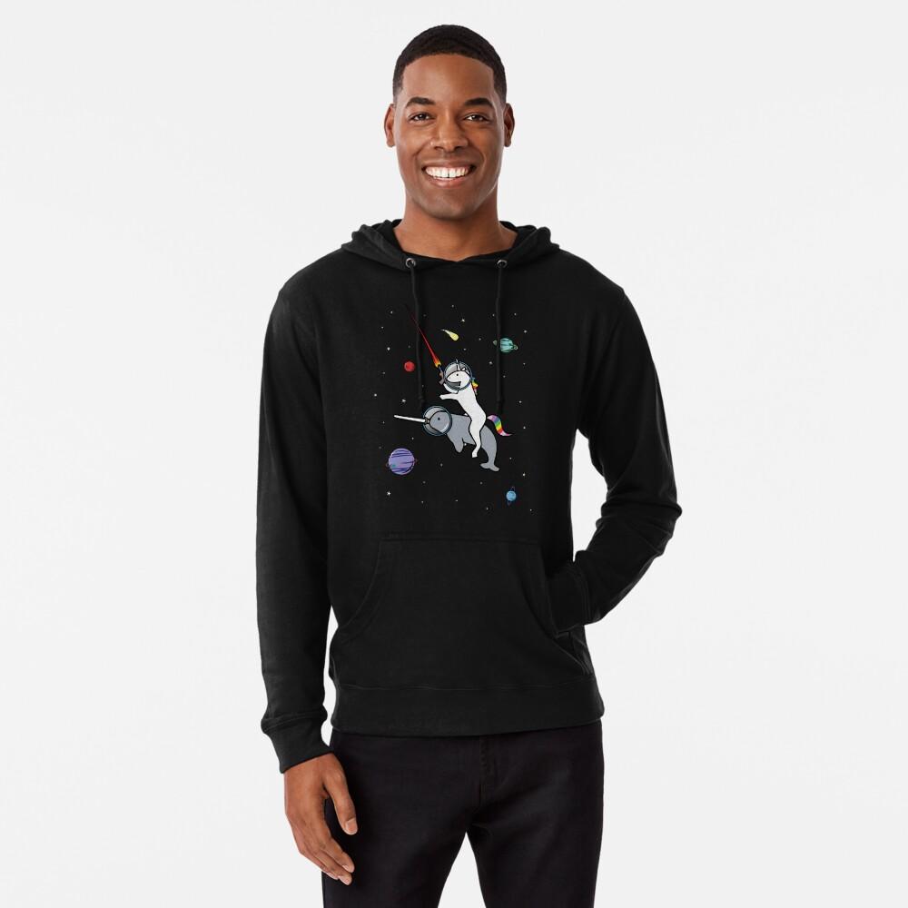 Unicorn Reiten Narwhal im Raum Leichter Hoodie