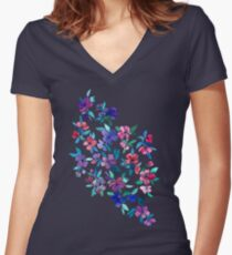 Southern Summer Floral - navy + colors Women's Fitted V-Neck T-Shirt
