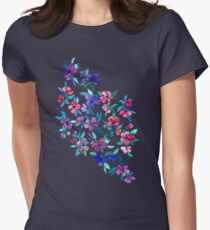 Southern Summer Floral - navy + colors Womens Fitted T-Shirt