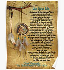 """Live Your Life"",Chief Tecumseh watercolor effect Poster"