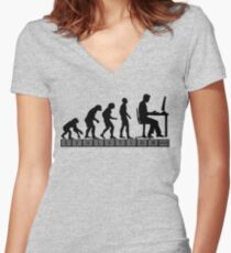 computer evolution Women's Fitted V-Neck T-Shirt