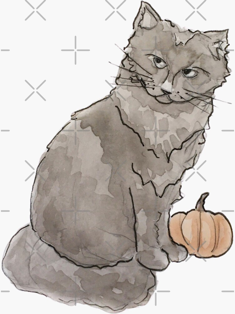 Black Cat with Pumpkin Illustration in Watercolor by WitchofWhimsy