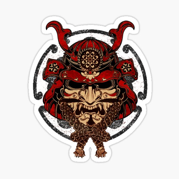 Samurai Warrior Mask Sticker