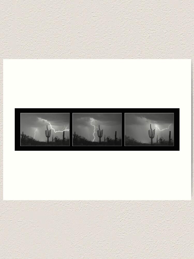 Alternate view of Southwest Saguaro Cactus Desert Storm Panorama BW Art Print