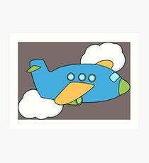 Airplane flying through Clouds Art Print