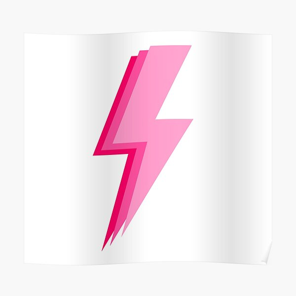 Layered trendy hot pink and light pink lightning bolt Poster