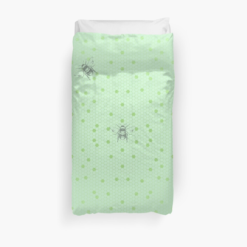 Green Honeycomb Duvet Cover