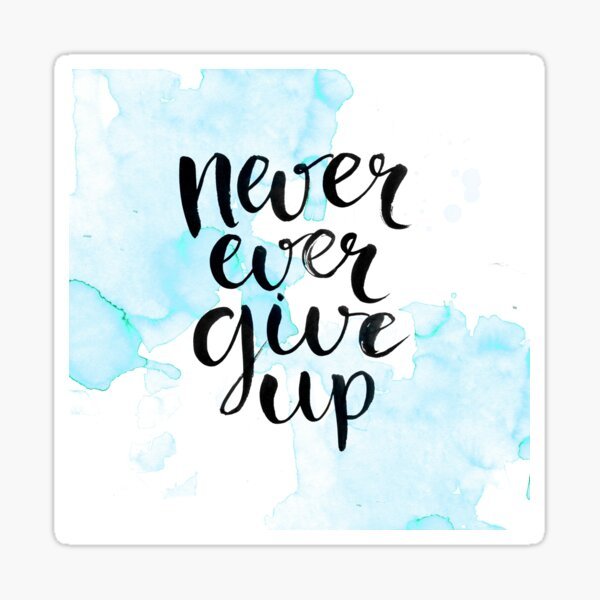 Never Ever Give Up Sticker