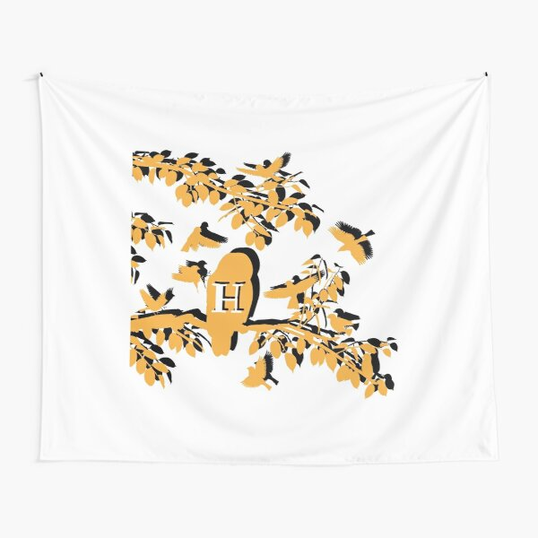 Yellow Owl Silhouette on Tree Branch Tapestry