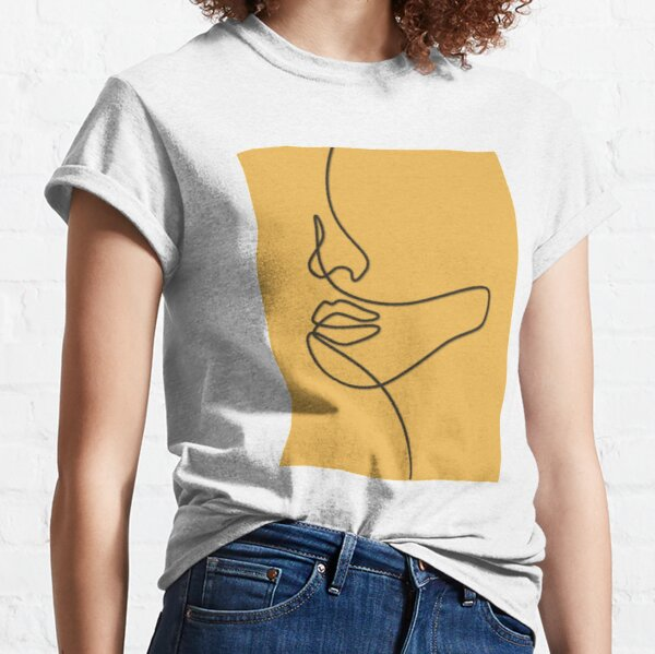 Gold Yellow Abstract Face Line Art Drawing   Classic T-Shirt