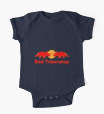 Prehistoric energy drink, Red Triceratop One Piece - Short Sleeve