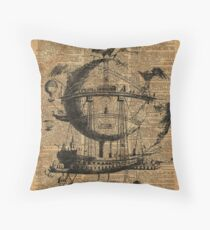 Victorian Steampunk Flying Machine Throw Pillow