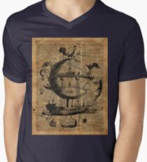 Victorian Steampunk Flying Machine Mens V-Neck T-Shirt