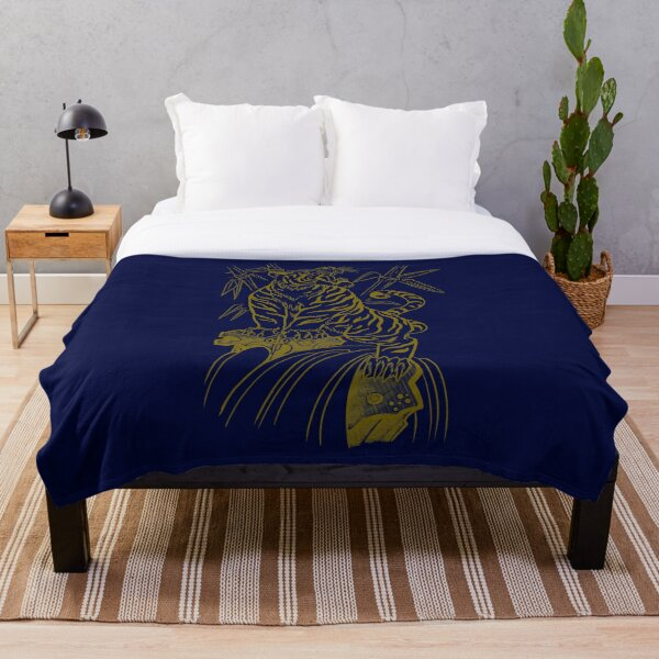 Japanese Tiger in Bamboo Throw Blanket