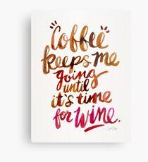 Coffee & Wine – Brown & Magenta Ombré Metal Print
