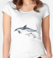 Striped dolphin Women's Fitted Scoop T-Shirt