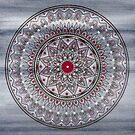 Hand Drawn Grey And Red Mandala by Zedart