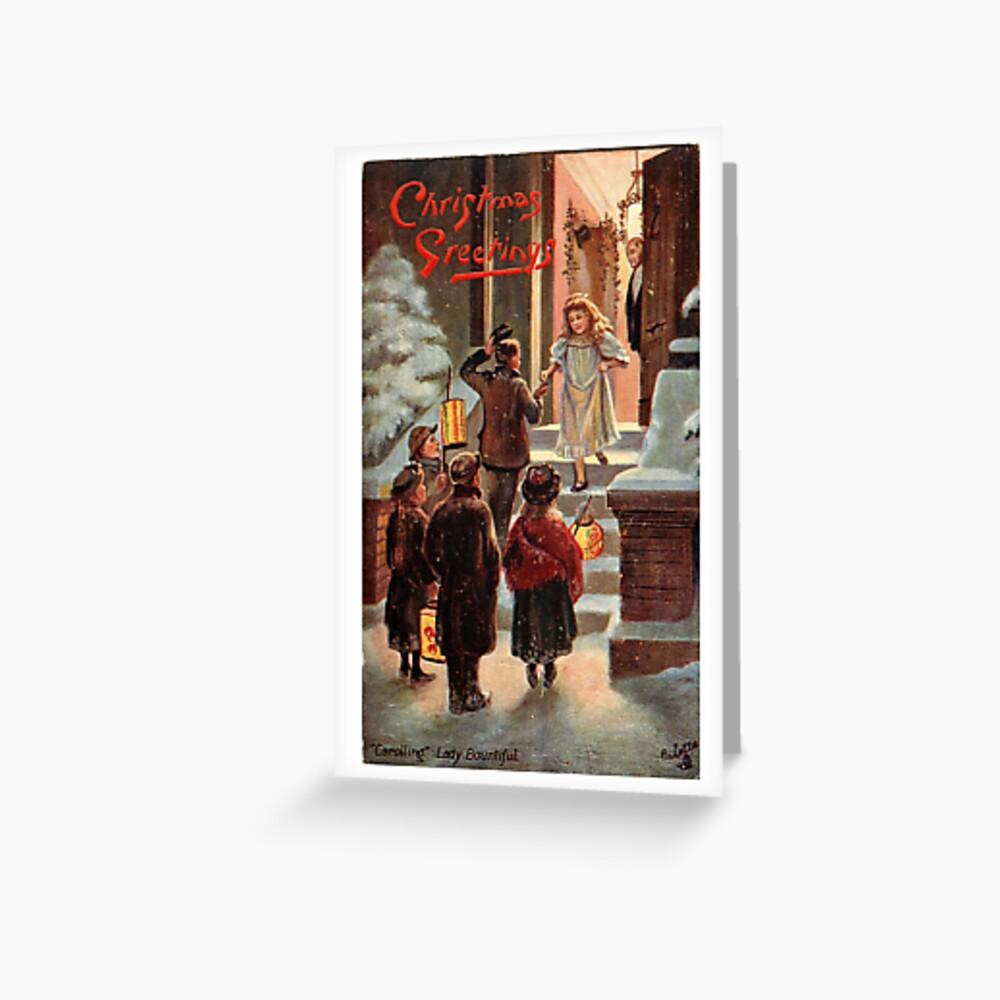 "Vintage ""Caroling"" Christmas Postcard (1908) Greeting Card"