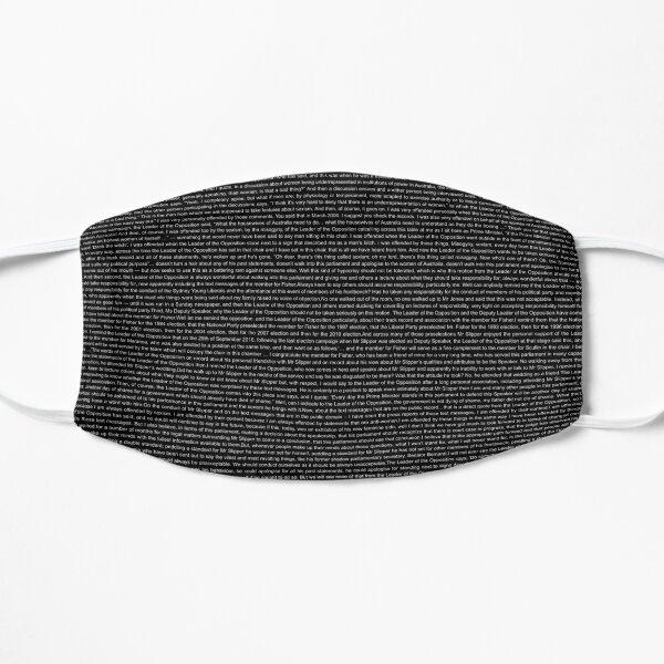 Gillard's 2012 misogyny speech transcript in black Flat Mask
