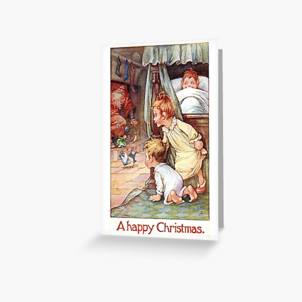 "Vintage ""A Happy Christmas"" Postcard (1917) Greeting Card"
