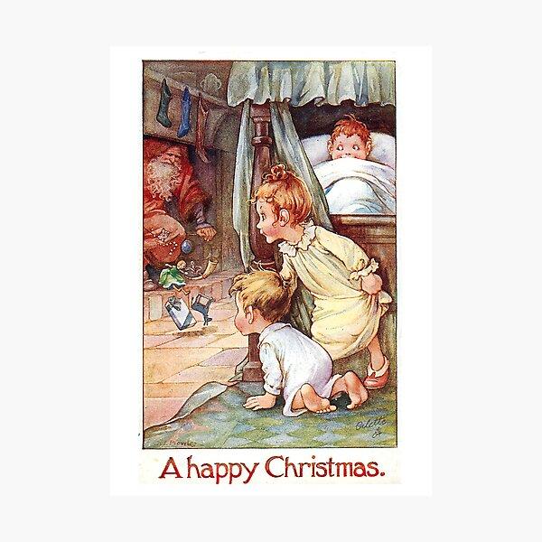 "Vintage ""A Happy Christmas"" Postcard (1917) Photographic Print"