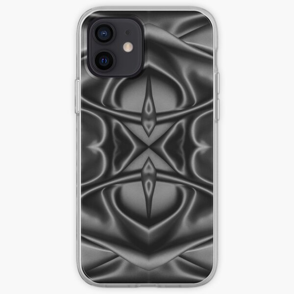 Crumpled matter, silk, wavy, dark, material, fabric, wallpapers, pictures, photos, black fabric iPhone Soft Case