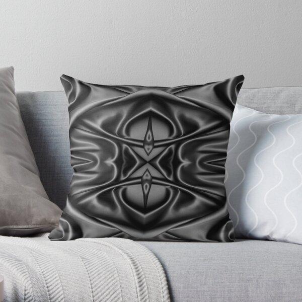 Crumpled matter, silk, wavy, dark, material, fabric, wallpapers, pictures, photos, black fabric Throw Pillow