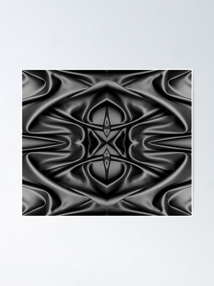 Alternate view of Crumpled matter, silk, wavy, dark, material, fabric, wallpapers, pictures, photos, black fabric Poster