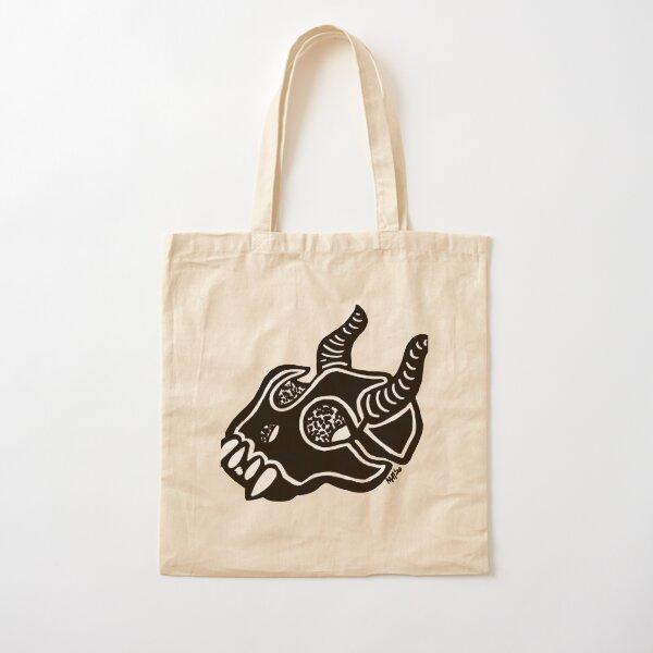 Horned Skull Black Cotton Tote Bag