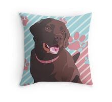 Daddy's Girl, Vector Chocolate Lab Art Throw Pillow