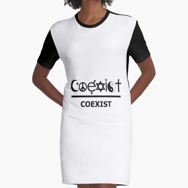 COEXIST Funny Style Graphic T-Shirt Dress