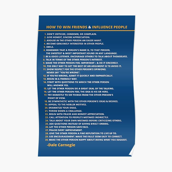Dale Carnegie How to Win Friends and Influence People Poster Poster