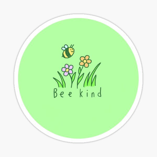 Bee Kind Green Bee and Flower Doodle Sticker
