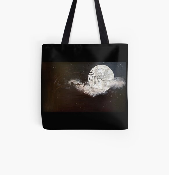 Night owl on a full moon. All Over Print Tote Bag