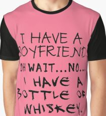 Funny Anti Valentine Bottle of Whiskey Graphic T-Shirt