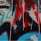 Graffiti with paint drips by sledgehammer