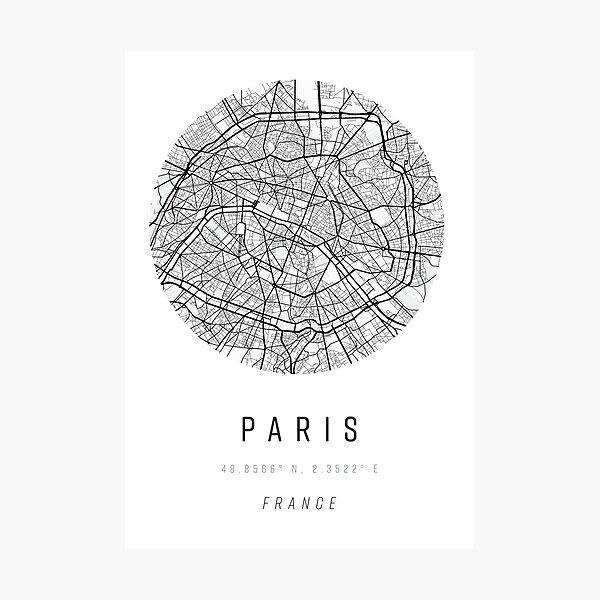Paris Map Print with Coordinates Photographic Print