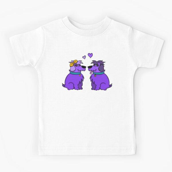 Sheep Dogs in Love Purple Kids T-Shirt