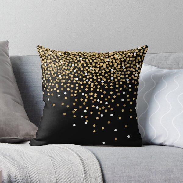 Golden glitter and black Throw Pillow