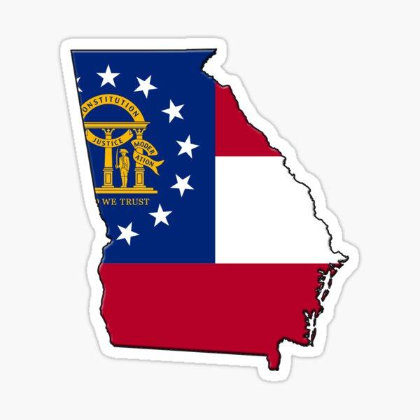 Georgia State Flag & Outline Sticker