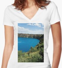 0855 Blue Lake - Mount Gambier Women's Fitted V-Neck T-Shirt