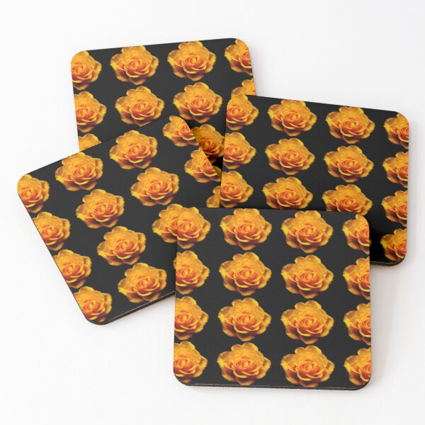 Glimmery Yellow Roses On Black Coasters (Set of 4)